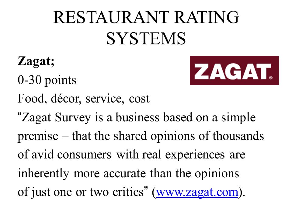 RESTAURANT RATING SYSTEMS