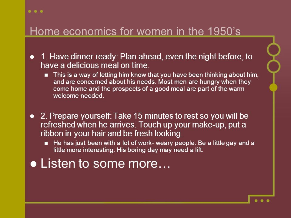 Home economics for women in the 1950's