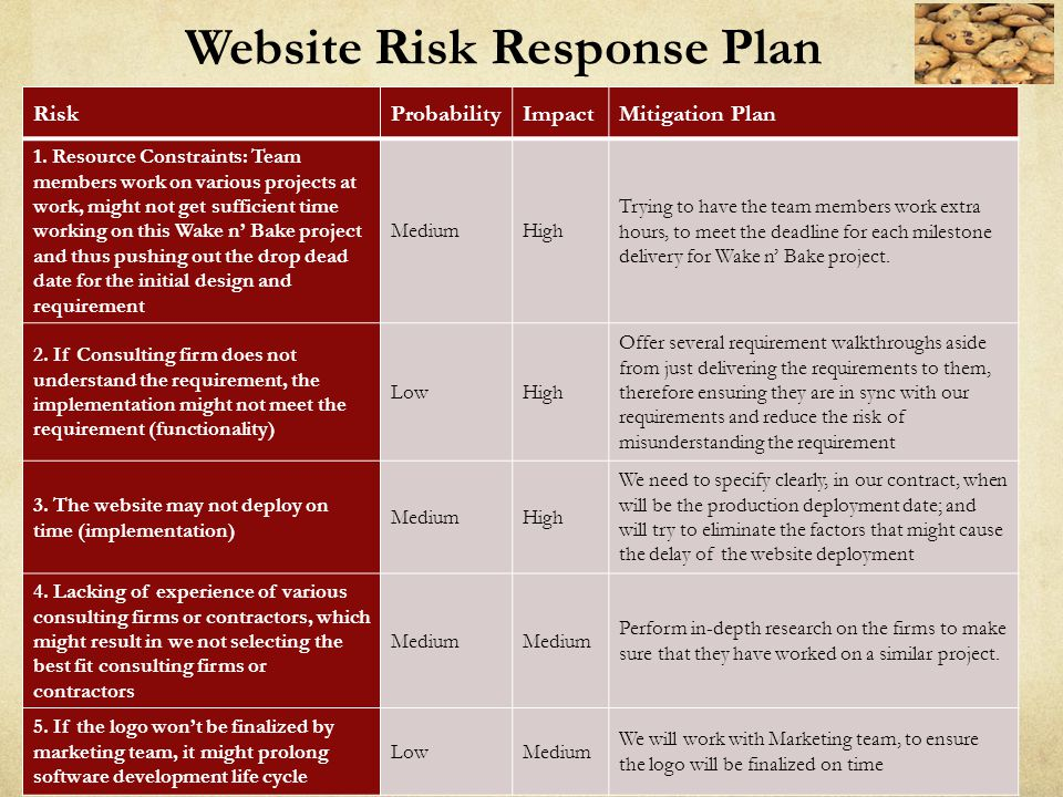 Website Risk Response Plan