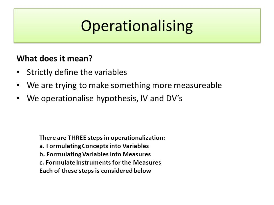 Operationalising What does it mean Strictly define the variables
