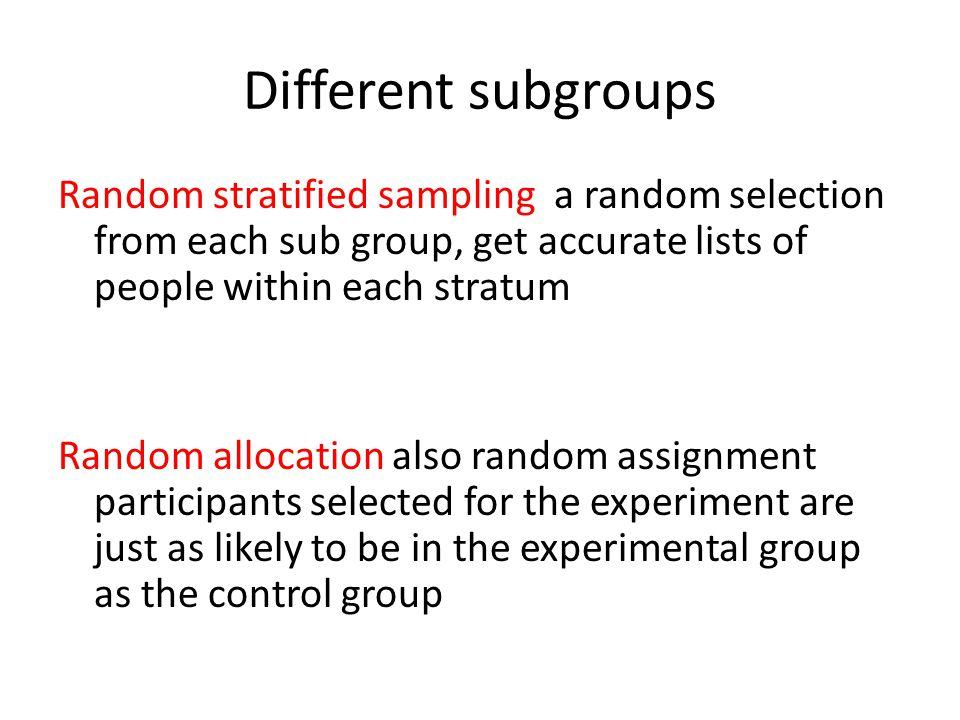 Different subgroups