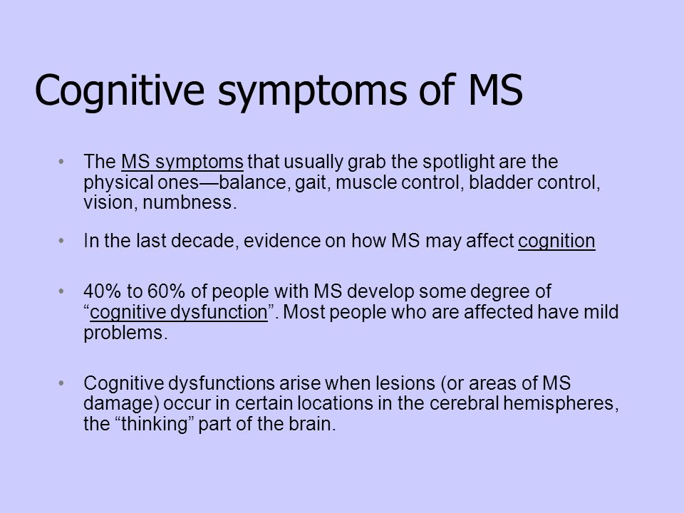 Cognitive symptoms of MS