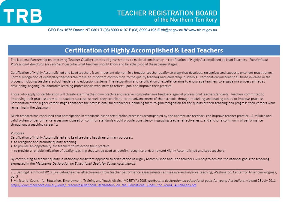 Certification of Highly Accomplished & Lead Teachers