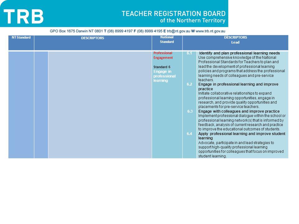 DESCRIPTORS Lead NT Standard National Standard Professional Engagement