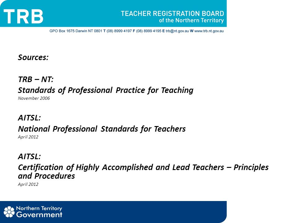 Standards of Professional Practice for Teaching