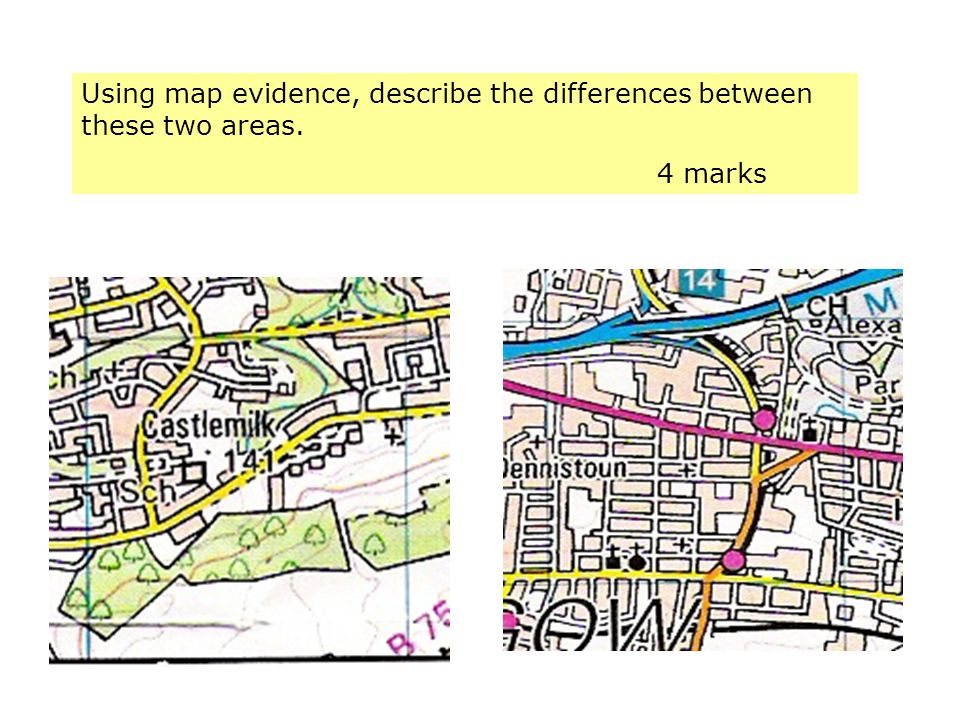 Using map evidence, describe the differences between these two areas.