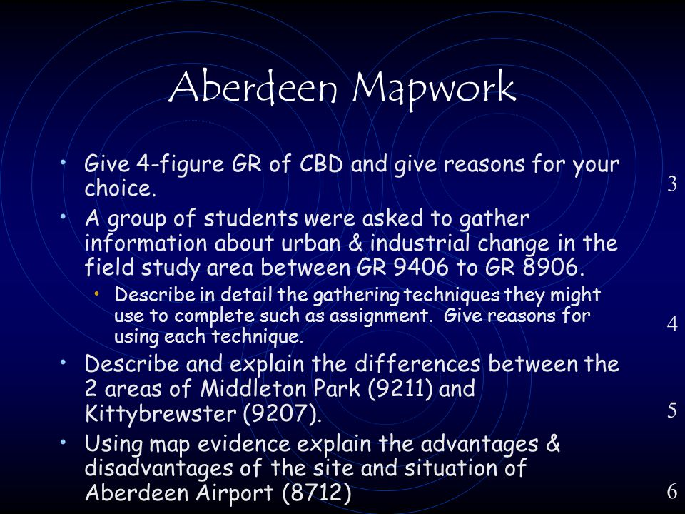 Aberdeen Mapwork Give 4-figure GR of CBD and give reasons for your choice.