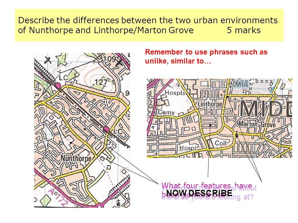 Describe the differences between the two urban environments of Nunthorpe and Linthorpe/Marton Grove 5 marks