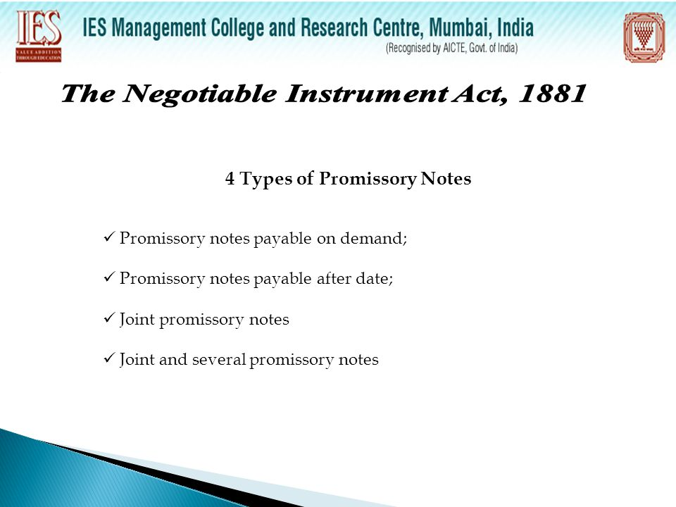 The Negotiable Instrument Act, Types of Promissory Notes