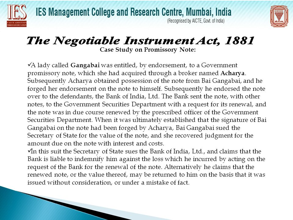 The Negotiable Instrument Act, 1881 Case Study on Promissory Note: