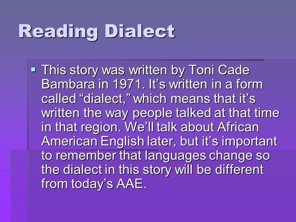 Reading Dialect
