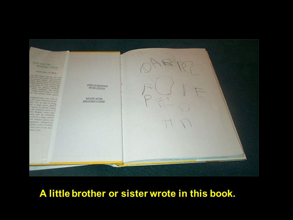 A little brother or sister wrote in this book.