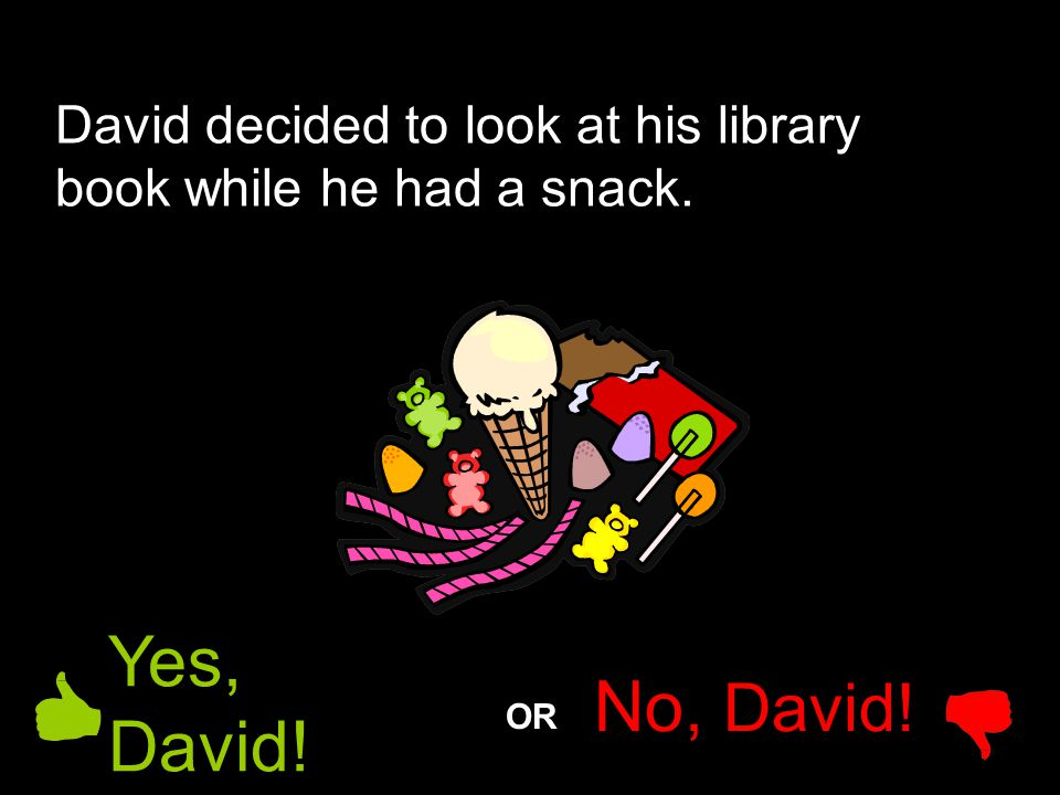 David decided to look at his library book while he had a snack.
