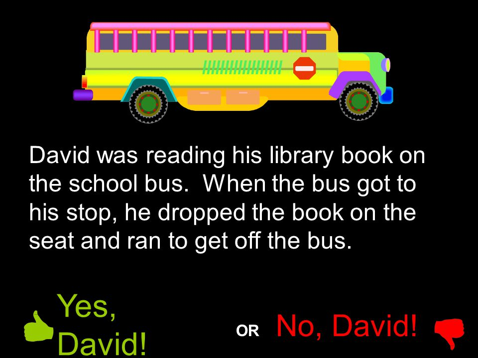 David was reading his library book on the school bus