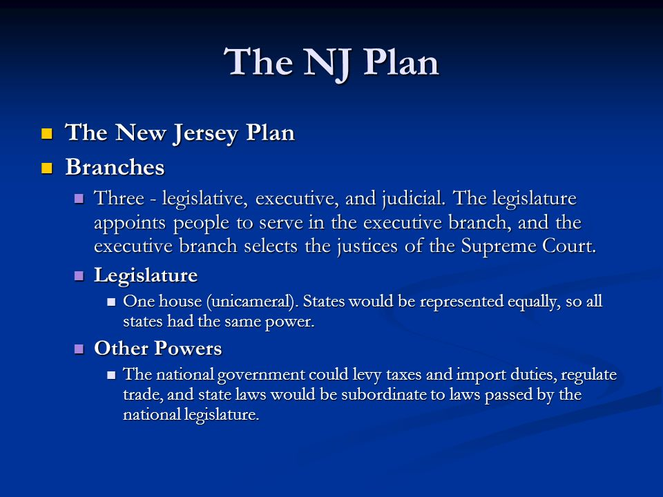 The NJ Plan The New Jersey Plan Branches