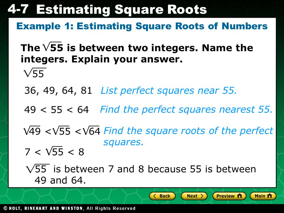 Example 1: Estimating Square Roots of Numbers