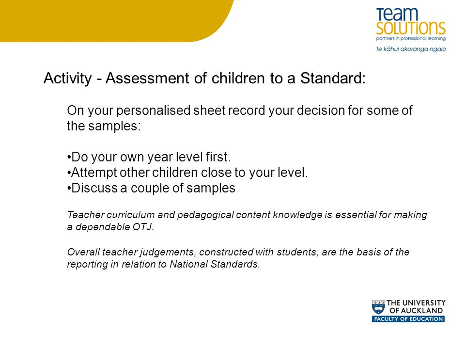 Activity - Assessment of children to a Standard: