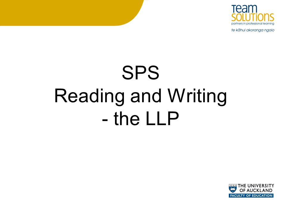 SPS Reading and Writing - the LLP