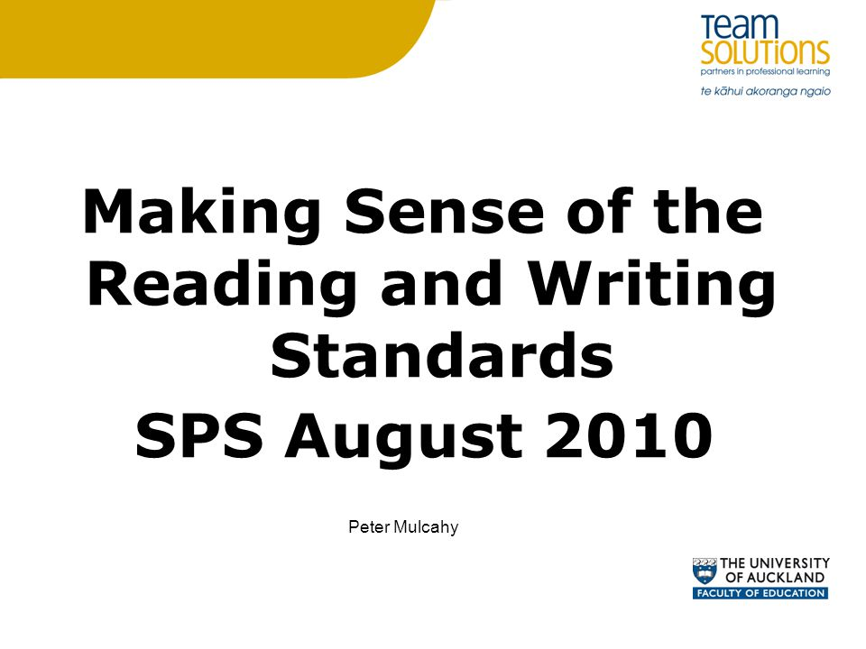 Making Sense of the Reading and Writing Standards SPS August 2010