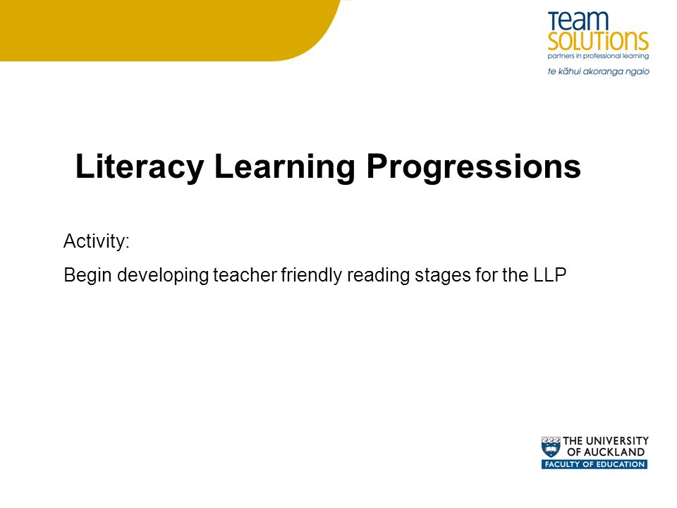 Literacy Learning Progressions