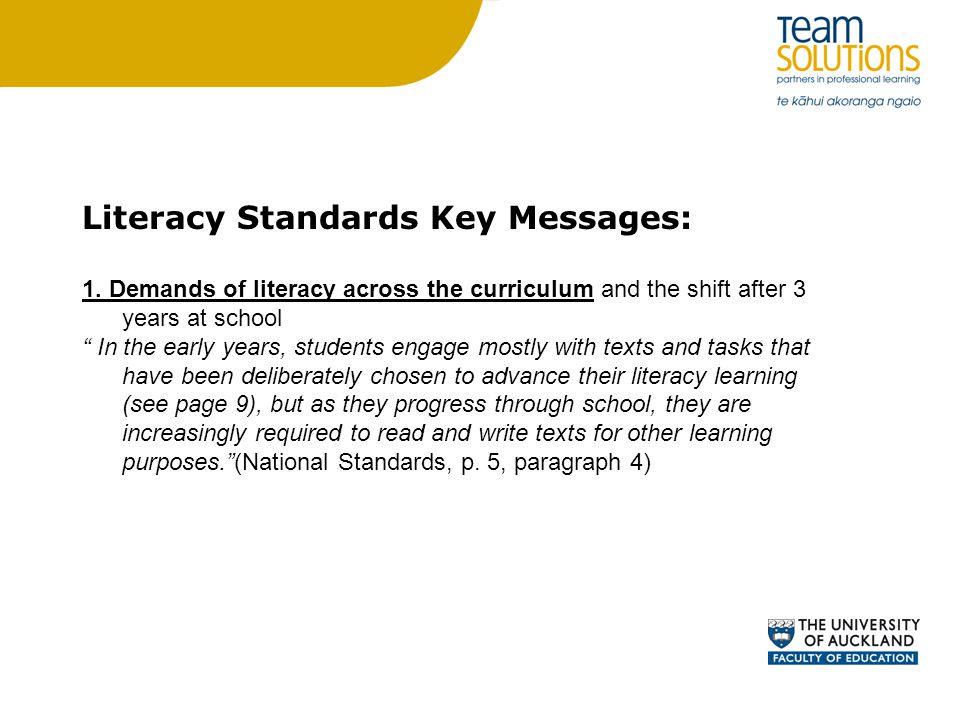 Literacy Standards Key Messages: