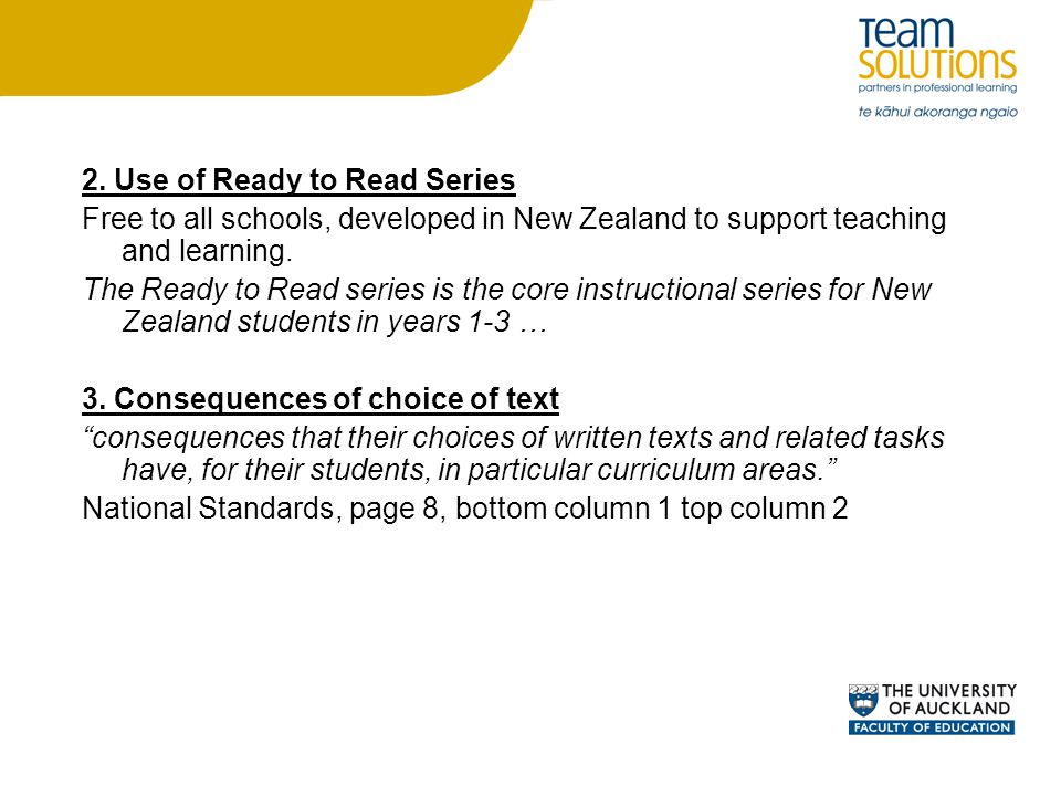 2. Use of Ready to Read Series