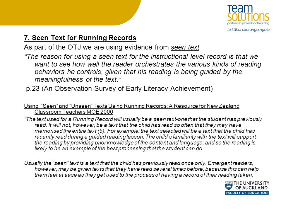 7. Seen Text for Running Records