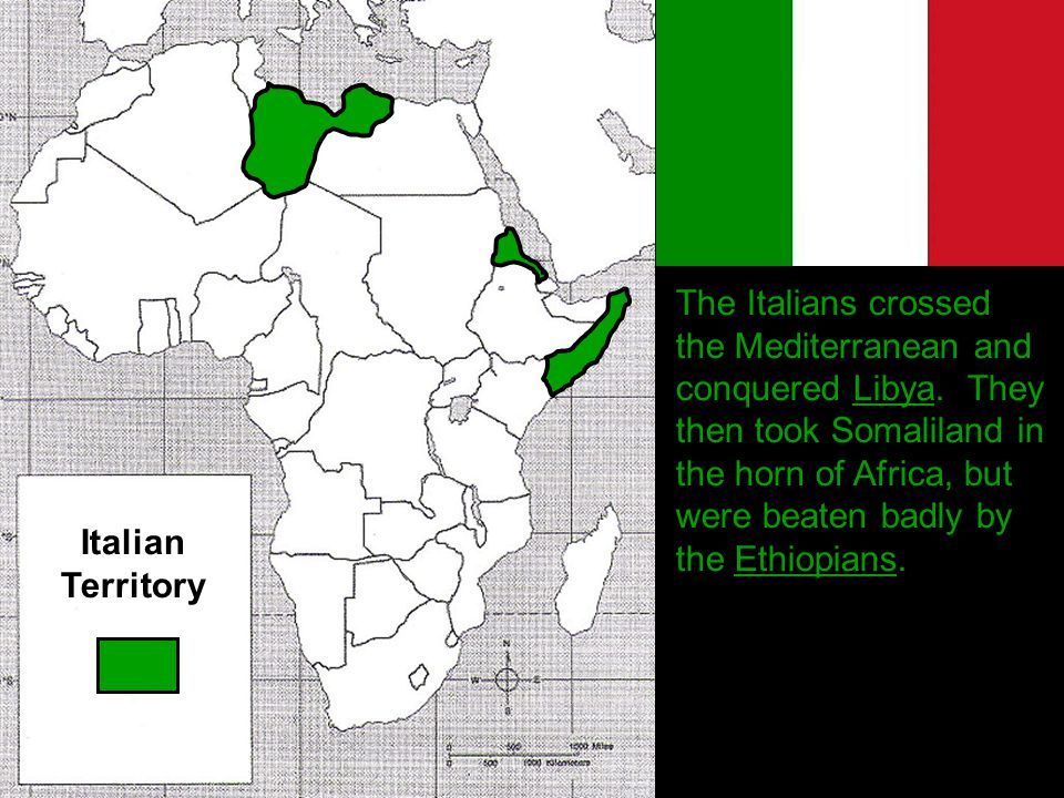 The Italians crossed the Mediterranean and conquered Libya