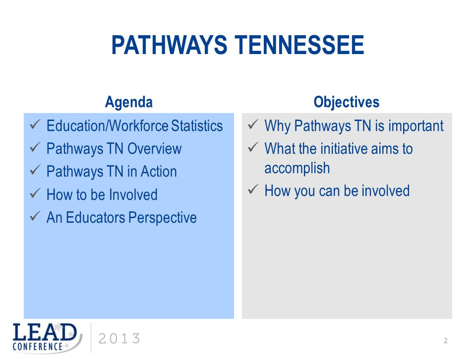PATHWAYS TENNESSEE Agenda Objectives Education/Workforce Statistics