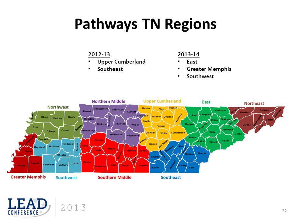 Pathways TN Regions 2012-13 2013-14 Upper Cumberland East Southeast