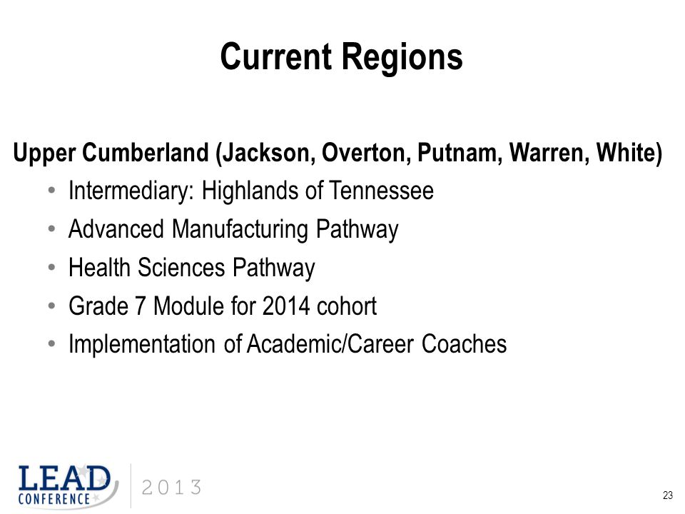 Current Regions Upper Cumberland (Jackson, Overton, Putnam, Warren, White) Intermediary: Highlands of Tennessee.