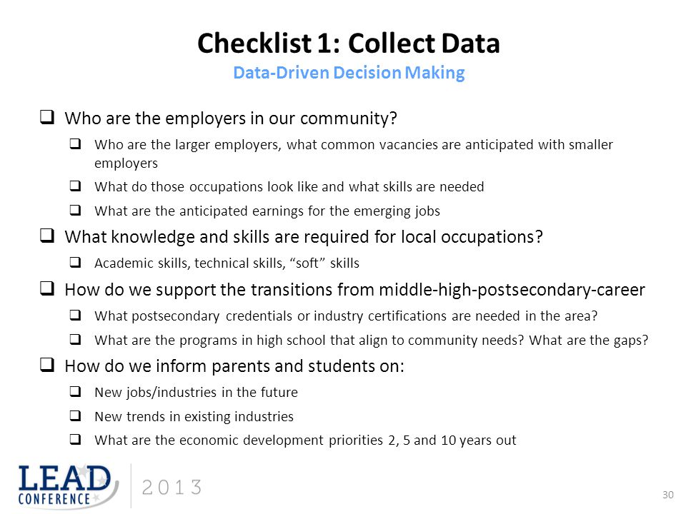 Checklist 1: Collect Data Data-Driven Decision Making