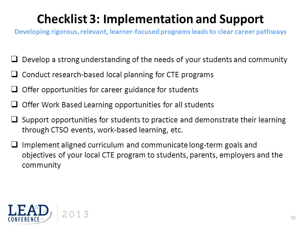 Checklist 3: Implementation and Support