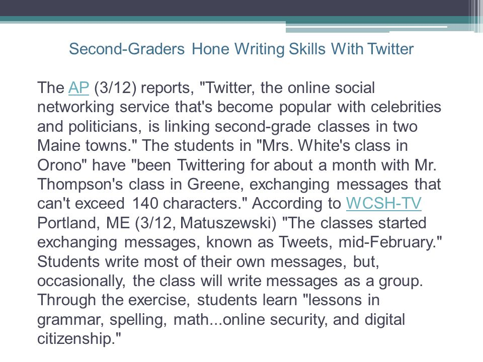 Second-Graders Hone Writing Skills With Twitter
