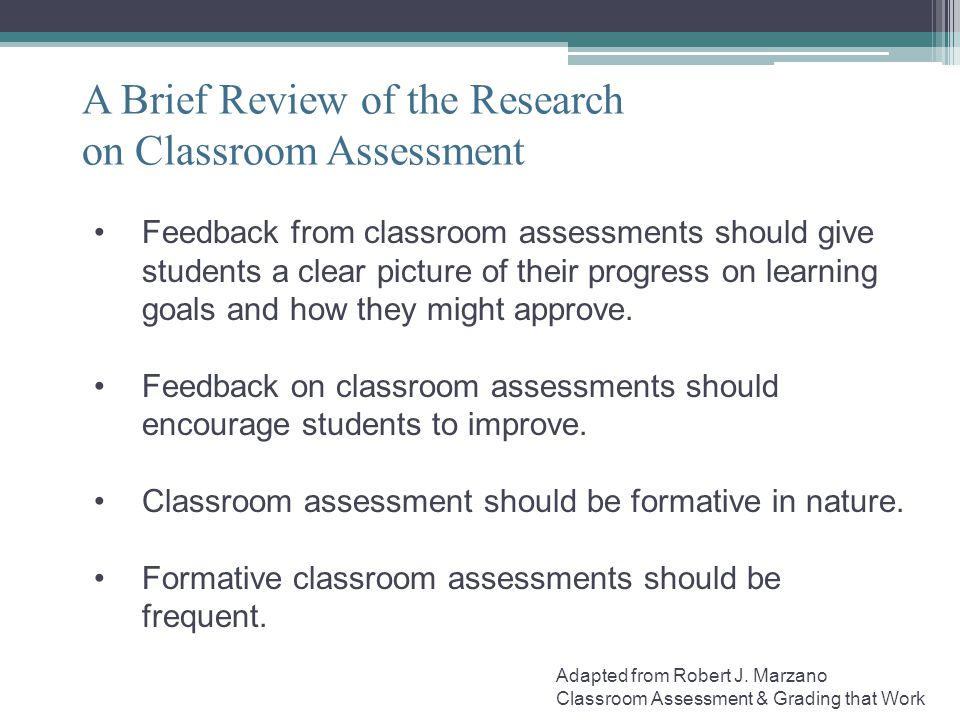 A Brief Review of the Research on Classroom Assessment