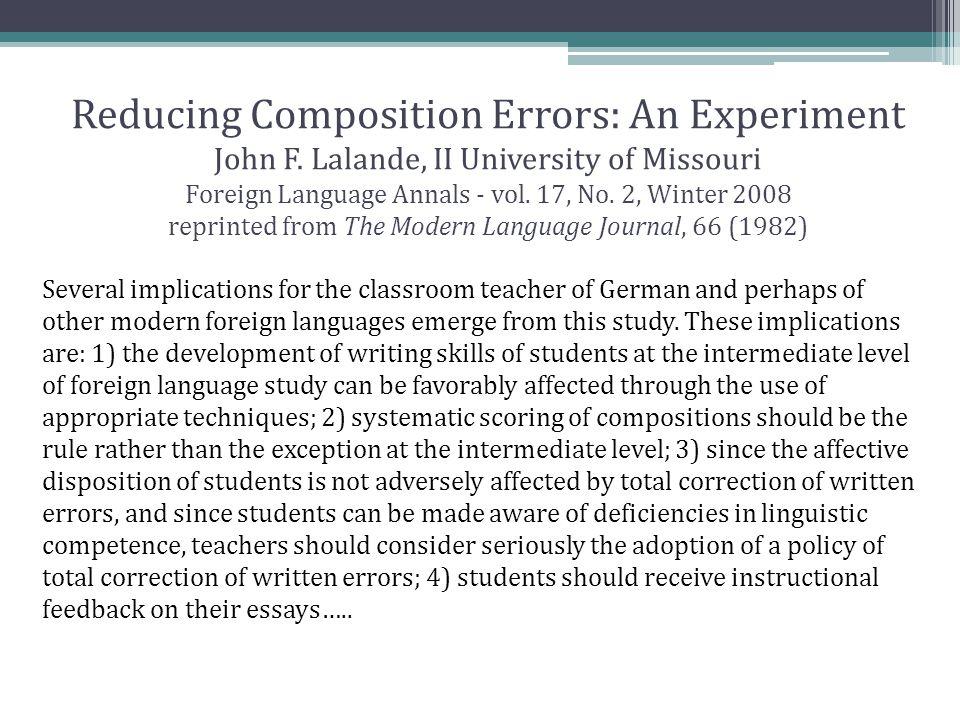 Reducing Composition Errors: An Experiment John F