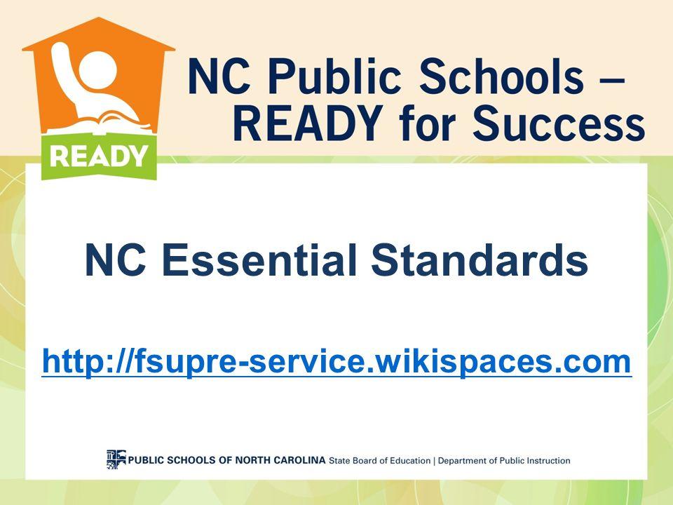 NC Essential Standards http://fsupre-service.wikispaces.com