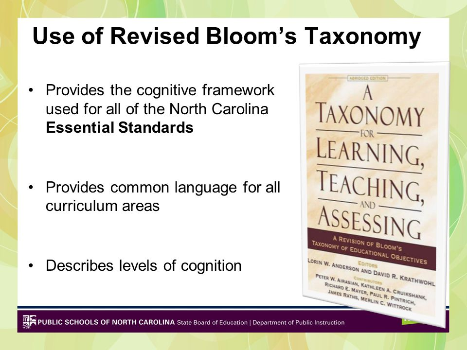 Use of Revised Bloom's Taxonomy