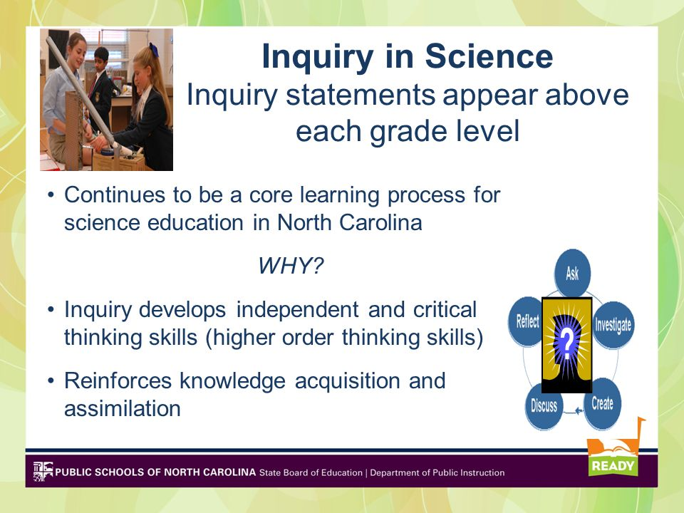 Inquiry in Science Inquiry statements appear above each grade level