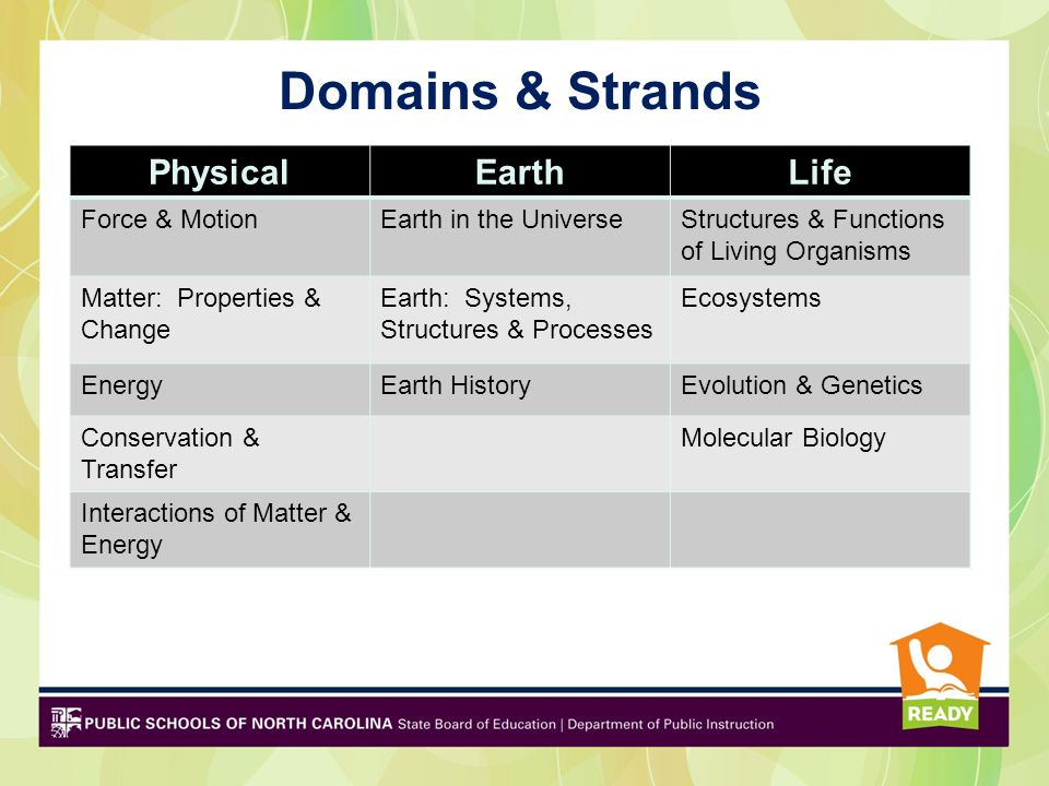 Domains & Strands Physical Earth Life Force & Motion