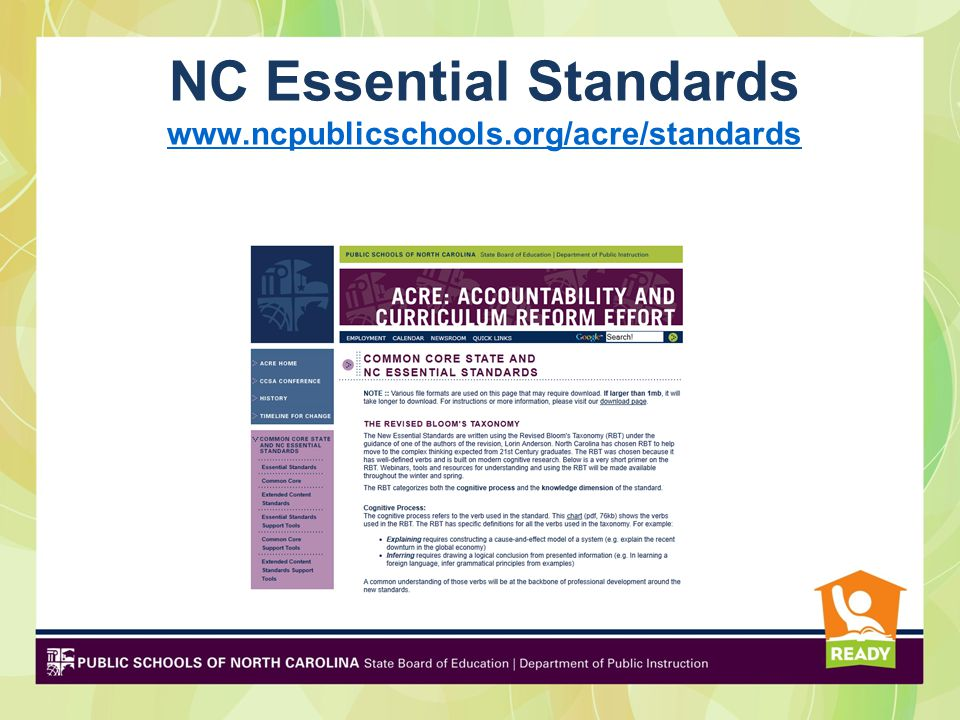 NC Essential Standards www.ncpublicschools.org/acre/standards