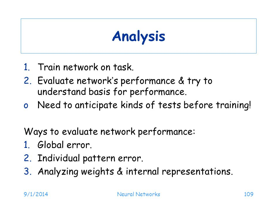 Analysis Train network on task.