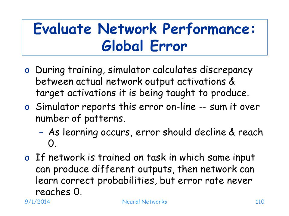 Evaluate Network Performance: Global Error
