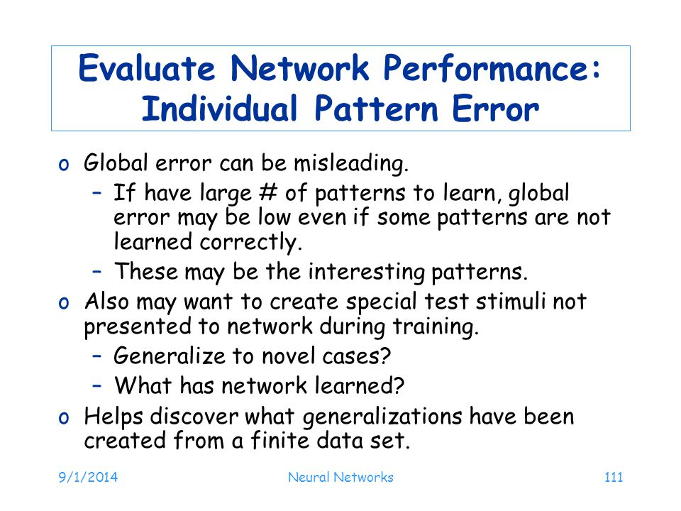 Evaluate Network Performance: Individual Pattern Error