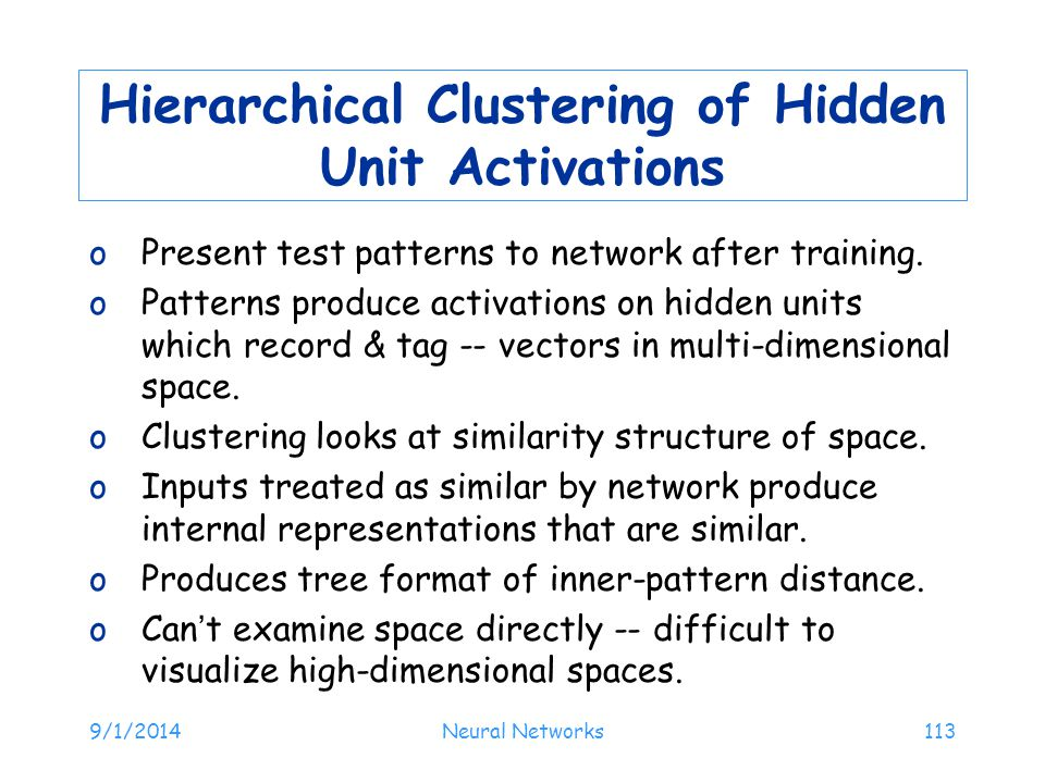 Hierarchical Clustering of Hidden Unit Activations