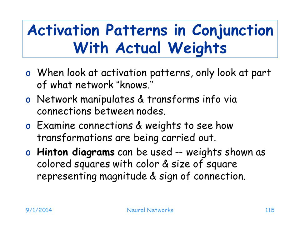 Activation Patterns in Conjunction With Actual Weights