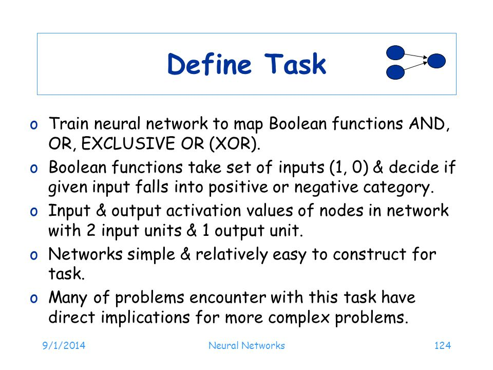 Define Task Train neural network to map Boolean functions AND, OR, EXCLUSIVE OR (XOR).