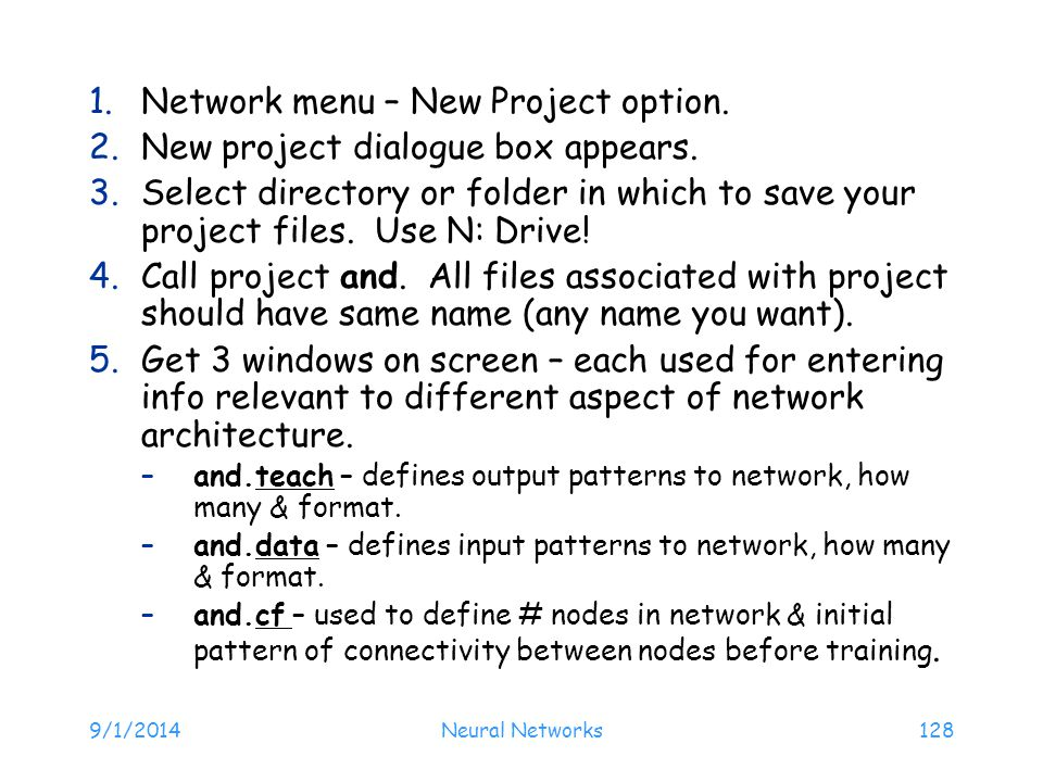 Network menu – New Project option. New project dialogue box appears.