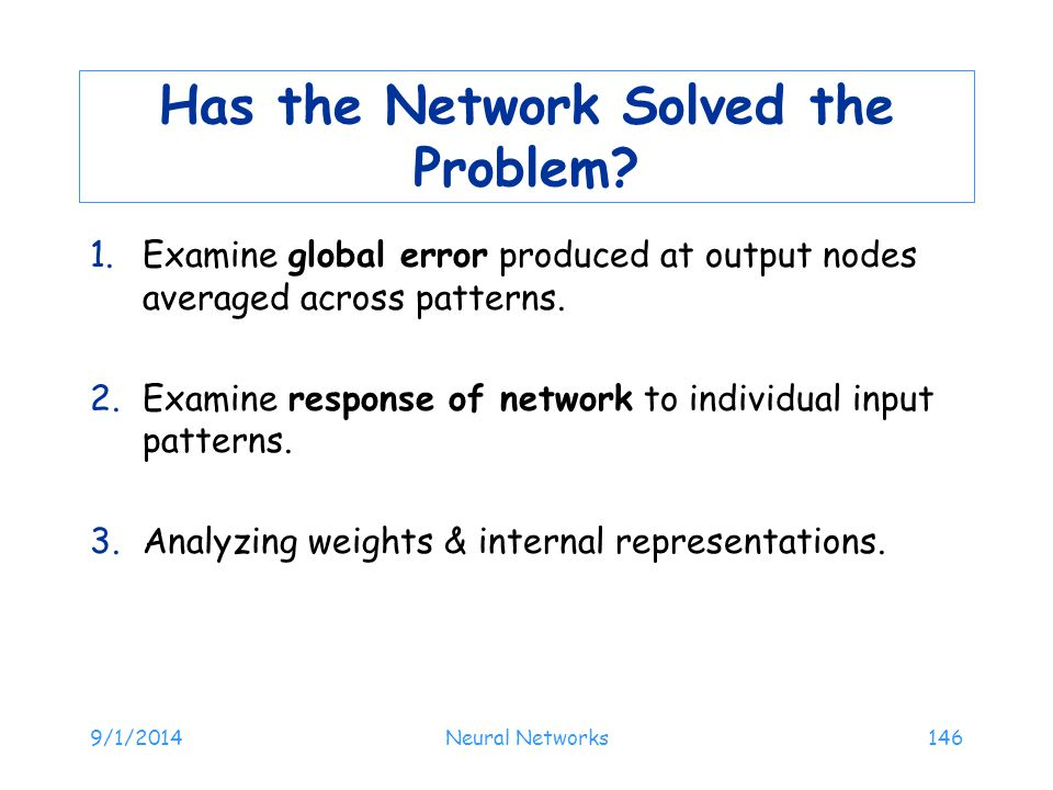 Has the Network Solved the Problem