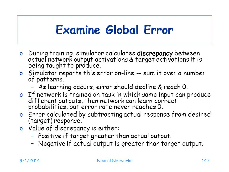 Examine Global Error